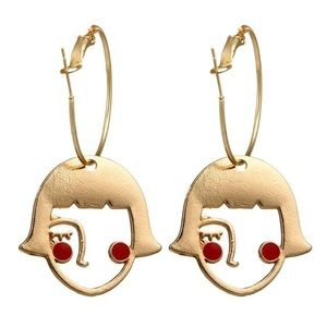 NWOT Gold Tone Girls Abstract Face Drop Earrings